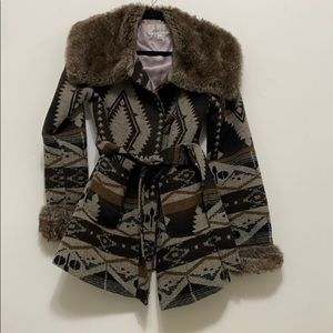 Vintage High Line faux fur and tribal print jacket